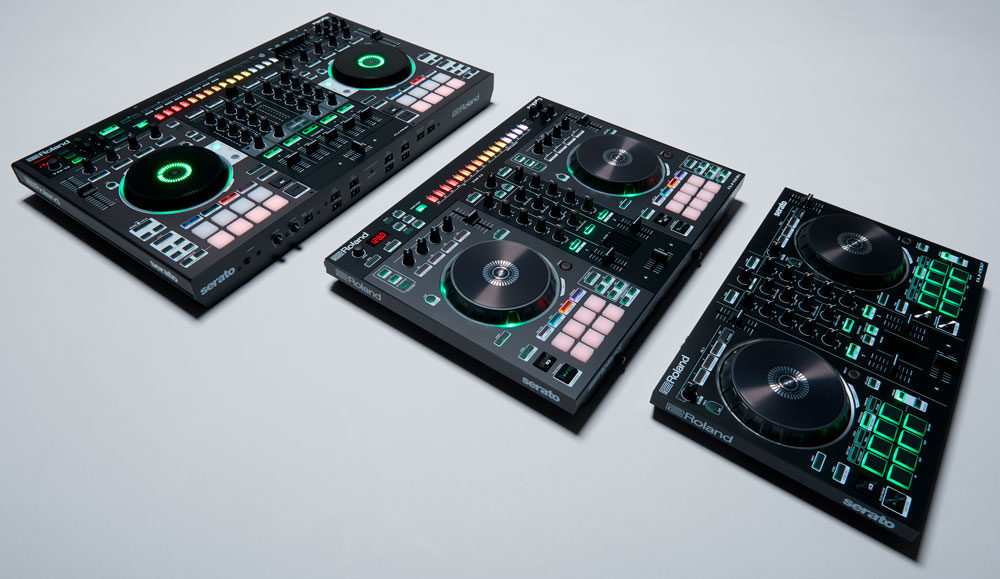 Roland DJ Controllers: DJ-808, DJ-505, and DJ-202 (left to right).