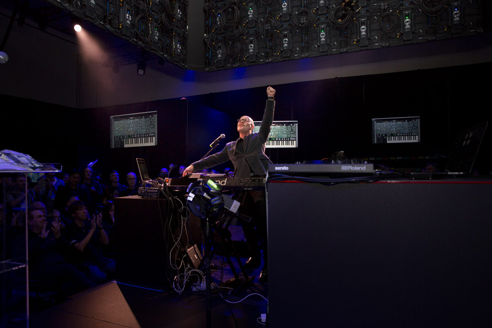 Thomas Dolby performing at the 2018 Roland International Press Conference.