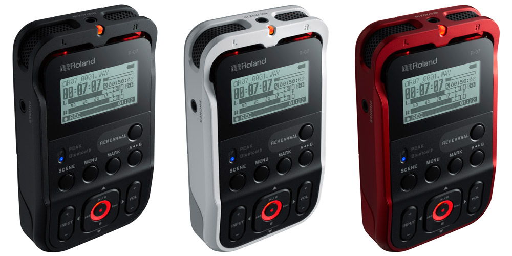The Roland R-07 High-Resolution Audio Recorder comes in three different colors.