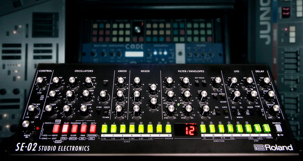 Roland SE-02 analog synth.