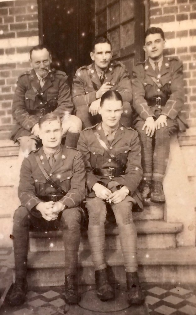 Percy High (rear left, with pipe). From 'Memories of Active Service', Vol 1, facing p 22. By permission of the Surrey History Centre (Ref: 2332/3/9/3/2)