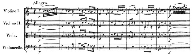 Beethoven, string quartet op.18/2, mvt.1, score sample