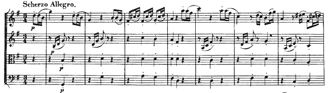 Beethoven, string quartet op.18/2, mvt.3, score sample, Scherzo