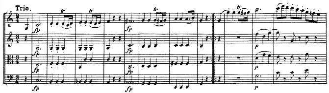 Beethoven, string quartet op.18/2, mvt.3, score sample, Trio
