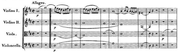 Beethoven, string quartet op.18/3, mvt.1, score sample