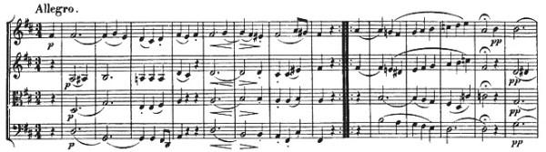 Beethoven, string quartet op.18/3, mvt.3, score sample