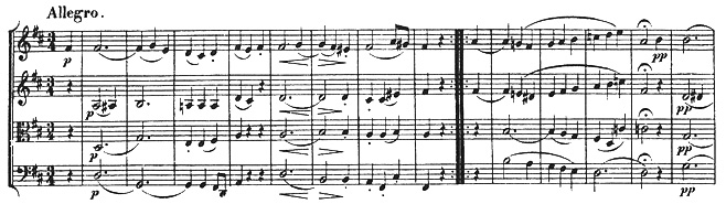 Beethoven, string quartet op.18/3, mvt.3, score sample
