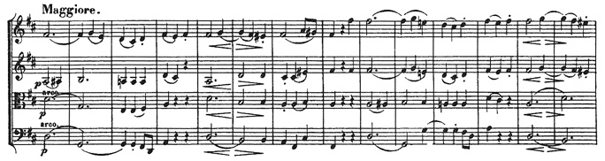 Beethoven, string quartet op.18/3, mvt.3, score sample, Maggiore