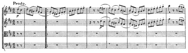 Beethoven, string quartet op.18/3, mvt.4, score sample