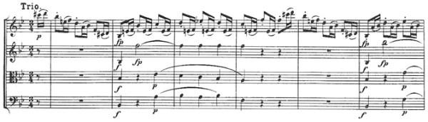 Beethoven, string quartet op.18/6, mvt.3, score sample, Trio