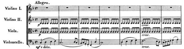Beethoven, string quartet op.59/1, mvt.1, score sample