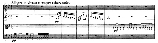 Beethoven, string quartet op.59/1, mvt.2, score sample