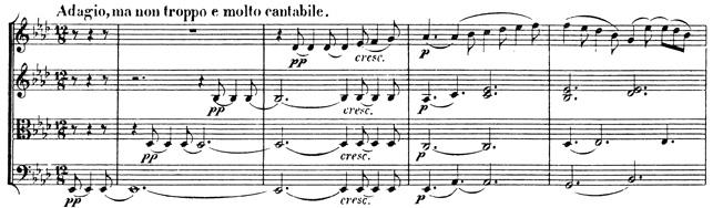 Beethoven, string quartet op.127, mvt.2, score sample, Adagio, ma non troppo e molto cantabile