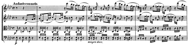 Beethoven, string quartet op.127, mvt.2, score sample, Andante con moto