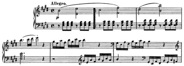 Beethoven, string quartet op.14/1, mvt.1, score sample