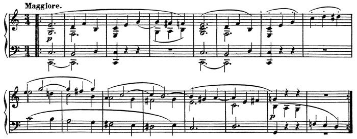 Beethoven, string quartet op.14/1, mvt.2, score sample, Maggiore