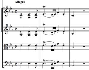 Mozart: Piano concerto K.482, mvt.1, score sample
