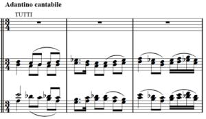 Mozart: Piano concerto K.482, mvt.3, score sample, Andantino cantabile