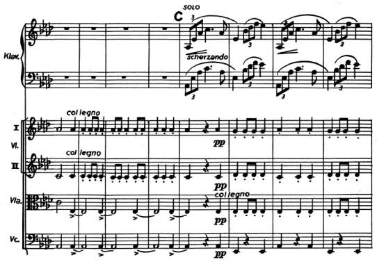 Chopin: piano concerto No.2 F minor, op.21, score sample, mvt.3, col legno