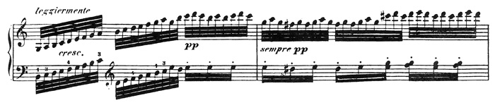 Beethoven, piano sonata No.32 C minor, op.111: mvt 2, score sample 3: leggiermente