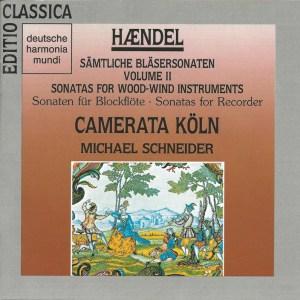 Handel: Sonatas for recorder, Schneider/Camerata Köln, CD cover