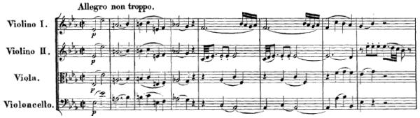 Mozart: String quartet K.428, mvt.1, score sample