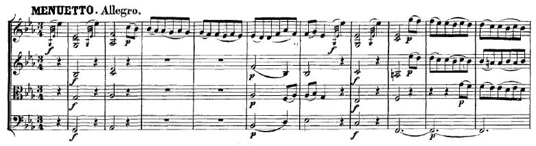 Mozart: String quartet K.428, mvt.3, score sample, Menuetto: Allegro