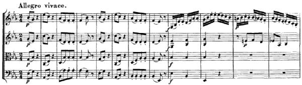 Mozart: String quartet K.428, mvt.4, score sample