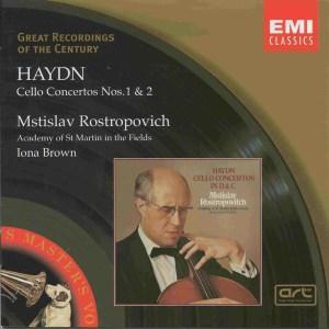 Haydn: Cello concertos, Mstislav Rostropovich, Iona Brown, CD cover