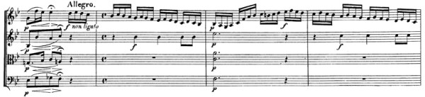 Beethoven, string quartet op.130, mvt.1, score sample, Allegro