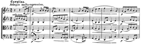 Beethoven, string quartet op.130, mvt.5, score sample, Cavatina: Adagio molto espressivo