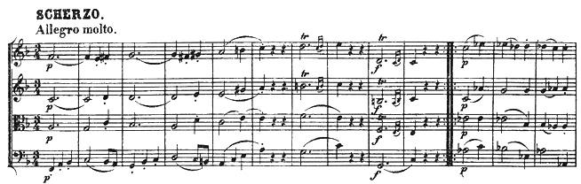 Beethoven, string quartet op.18/1, mvt.3, score sample, Scherzo