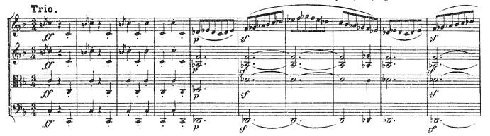 Beethoven, string quartet op.18/1, mvt.3, score sample, Trio