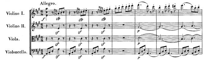 Beethoven, string quartet op.18/5, mvt.1, score sample
