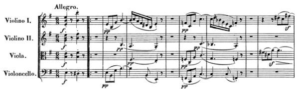 Beethoven, string quartet op.59/2, mvt.1, score sample