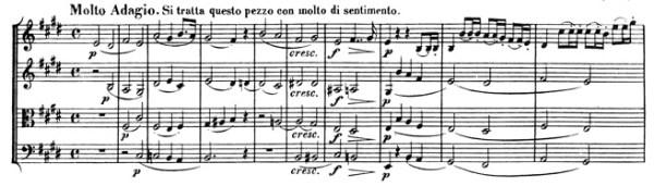 Beethoven, string quartet op.59/2, mvt.2, score sample