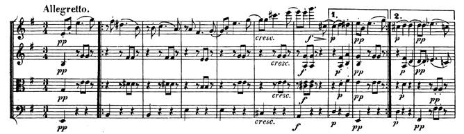 Beethoven, string quartet op.59/2, mvt.3, score sample, Allegretto