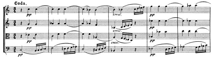 Beethoven, string quartet op.59/3, mvt.3, score sample, Coda