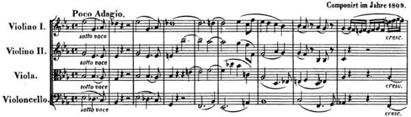 Beethoven, string quartet op.74, mvt.1, score sample, Poco adagio