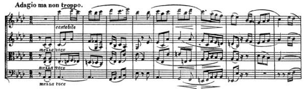 Beethoven, string quartet op.74, mvt.2, score sample