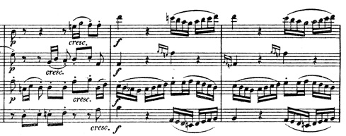 Beethoven, string quartet op.130, mvt.1, score sample, acciaccaturas, bars 42/43