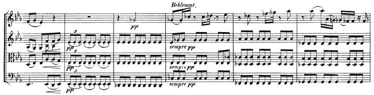 Beethoven, string quartet op.130, mvt.5, score sample, Beklemmt, sempre pp