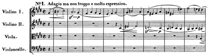 Beethoven, string quartet op.131, mvt.1, score sample