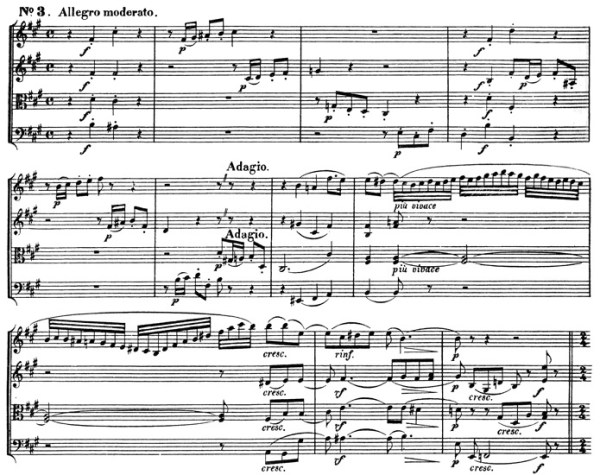 Beethoven, string quartet op.131, mvt.3, score sample