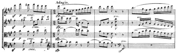 Beethoven, string quartet op.131, mvt.4, score sample, Adagio