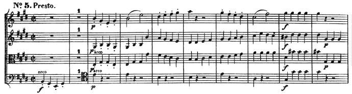 Beethoven, string quartet op.131, mvt.5, score sample, Presto