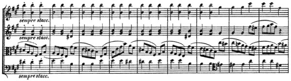 Beethoven, string quartet op.132, mvt.2, score sample, sempre staccato