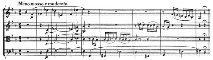 Beethoven: Great Fugue op.133, score sample, Meno mosso e moderato (I)
