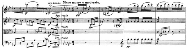 Beethoven: Great Fugue op.133, score sample, Meno mosso e moderato (II)