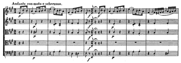 Beethoven, string quintet op.29, mvt.4, score sample, Andante con moto e scherzoso
